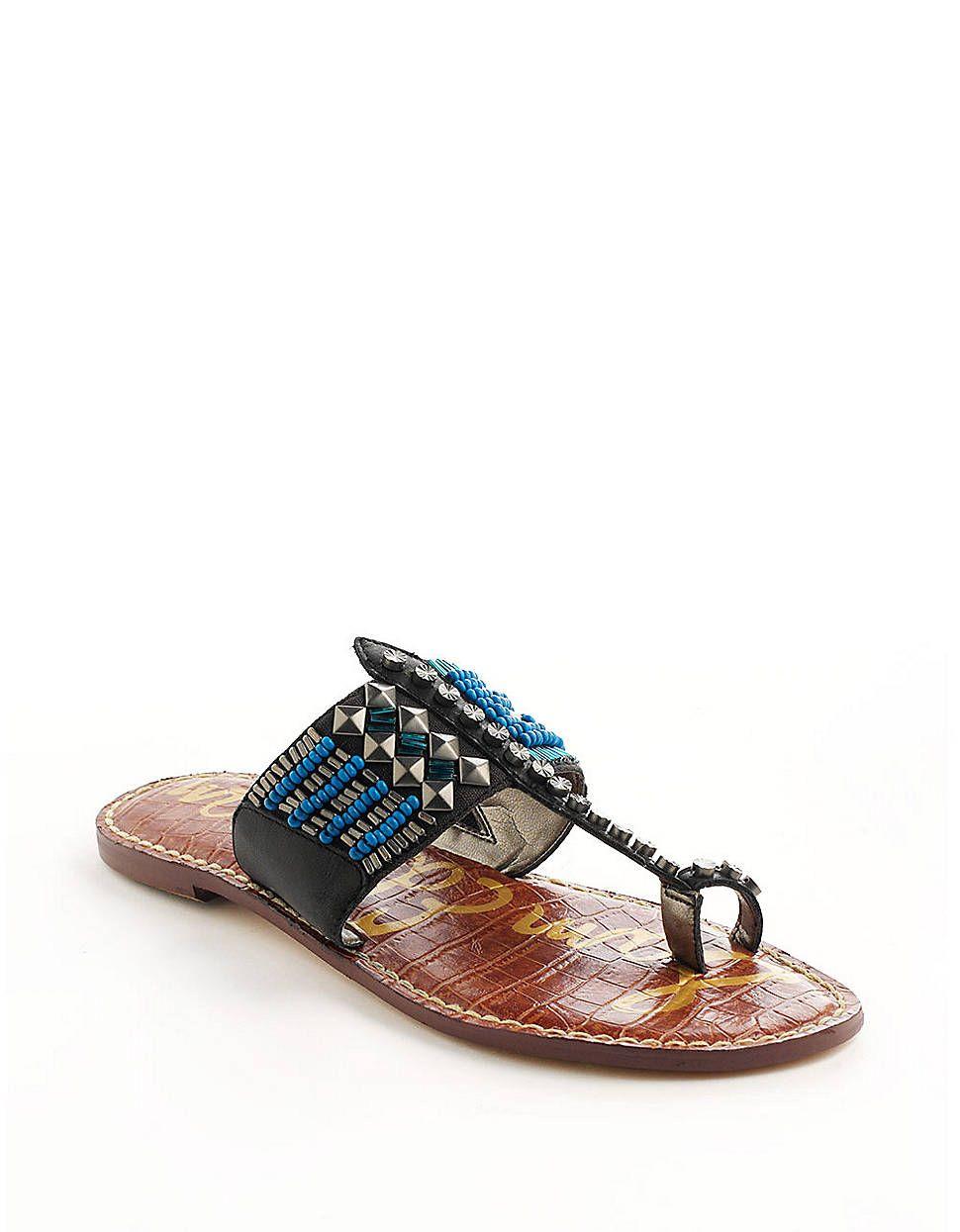 SAM EDELMANGideon Leather Beaded Sandals! #lordandtaylor