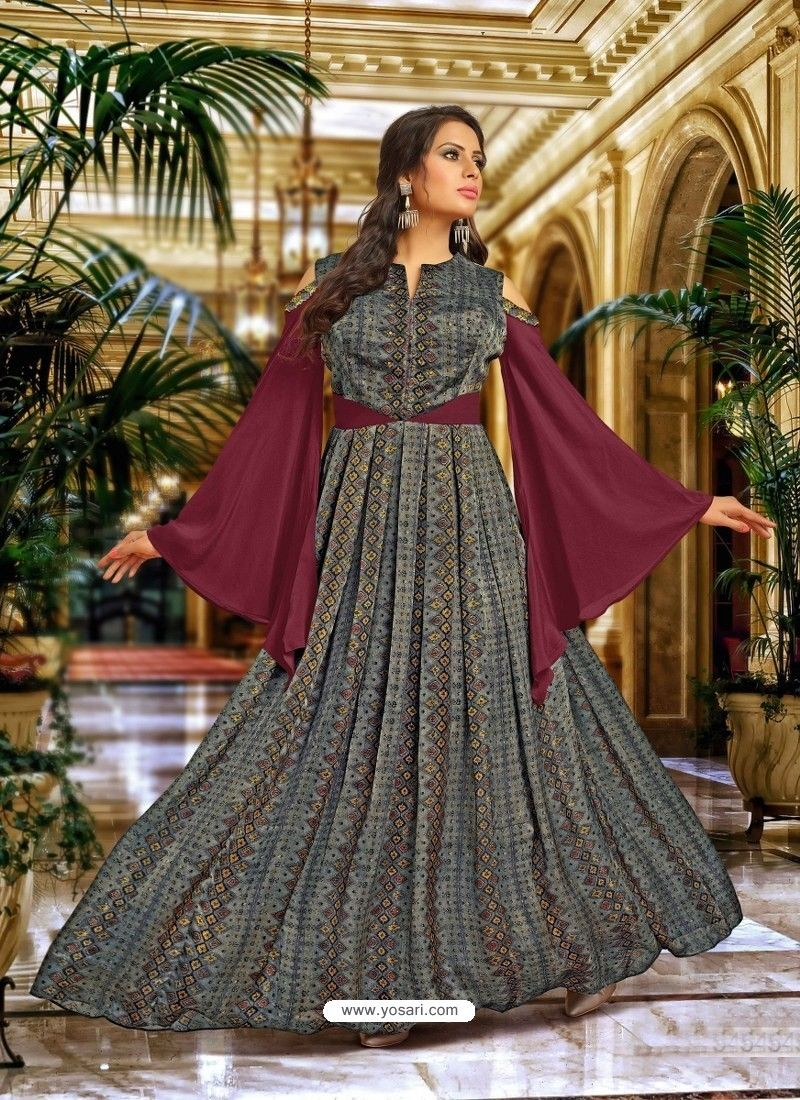 17f74a849f8 Wine And Carbon Satin Silk Embroidered Designer Gown in 2019 ...