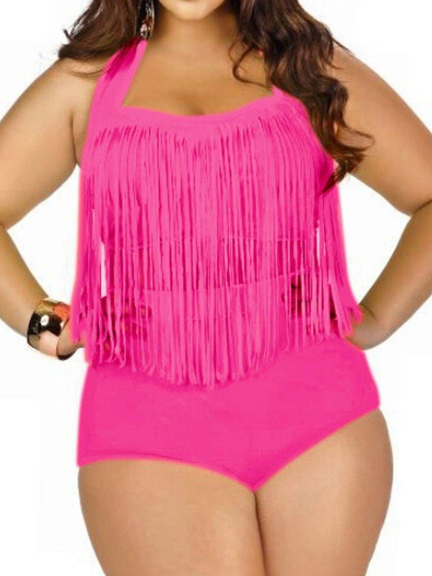 Coaches' & Referees' Gear Womens Retro High Waist Braided Fringe Bikini Swimwear Plus Size Tassel Swimsuits Retro Print Push up Tankini