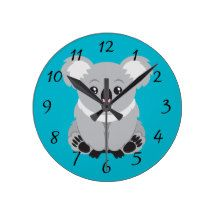 Animated Koala Bear Round Wallclock