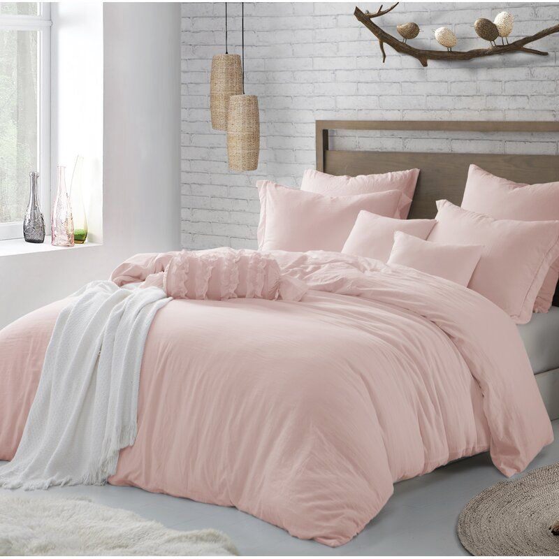 Lincoln Reversible Duvet Cover Set In 2021 Pink Duvet Cover California King Duvet Cover Light Pink Bedrooms