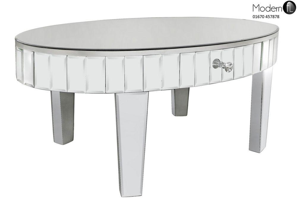 Venetian Mirrored Tiled Oval Coffee Table Gl