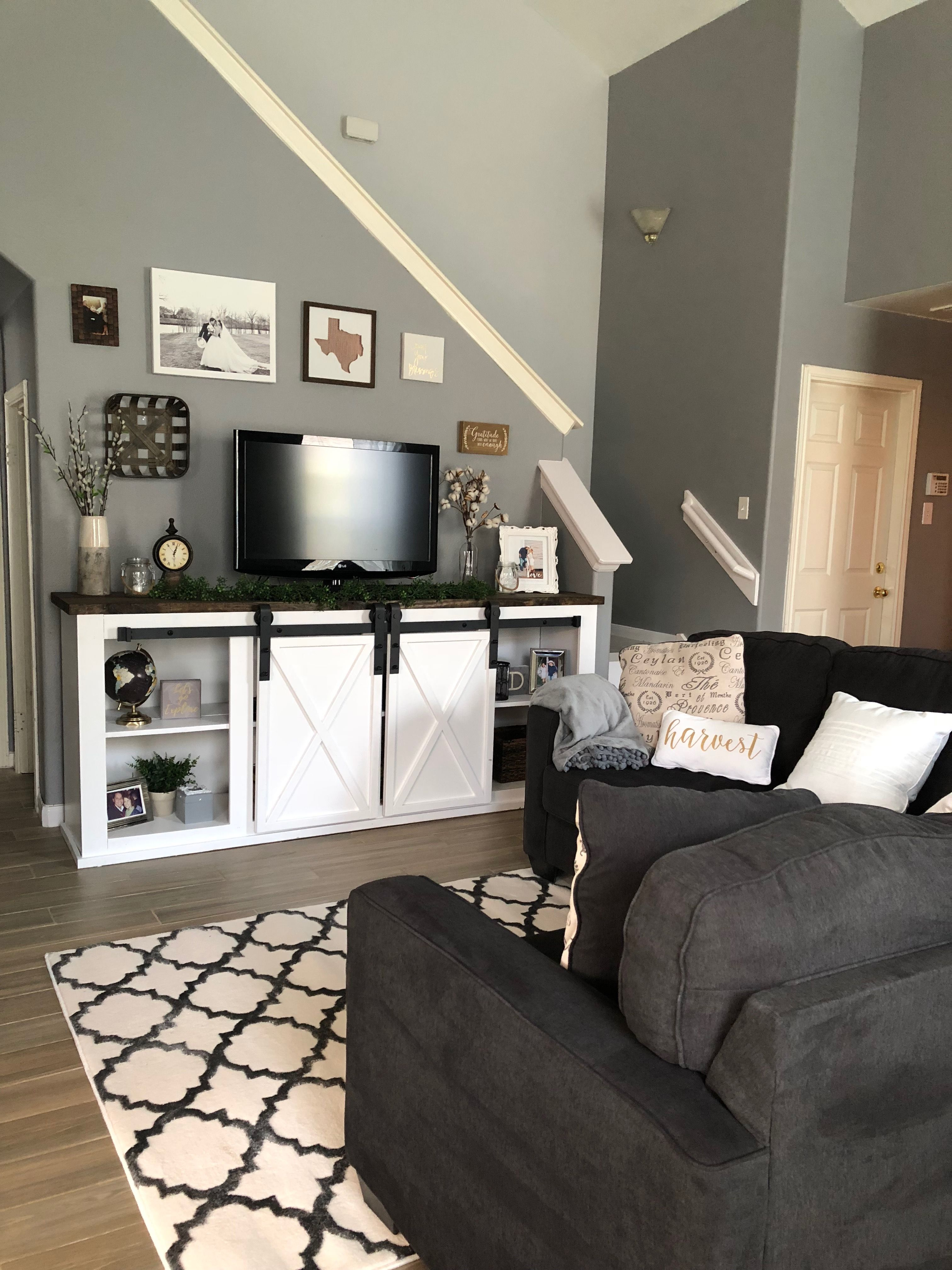 Farmhouse TV console under stairs wall using Anna White's