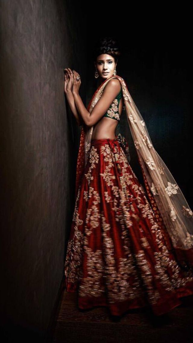 Modern Indian Bridal Lehenga Indianwedding Desi Asian Red