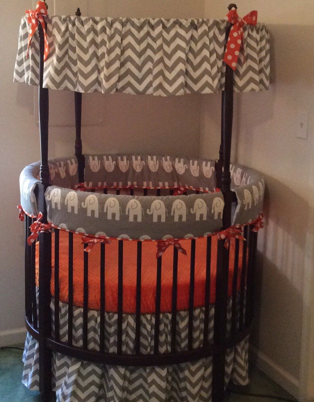 Crib bedding set gray white navy blue with by butterbeansboutique - Round Crib Bedding Set Orange And Gray By Butterbeansboutique On Etsy Https Www