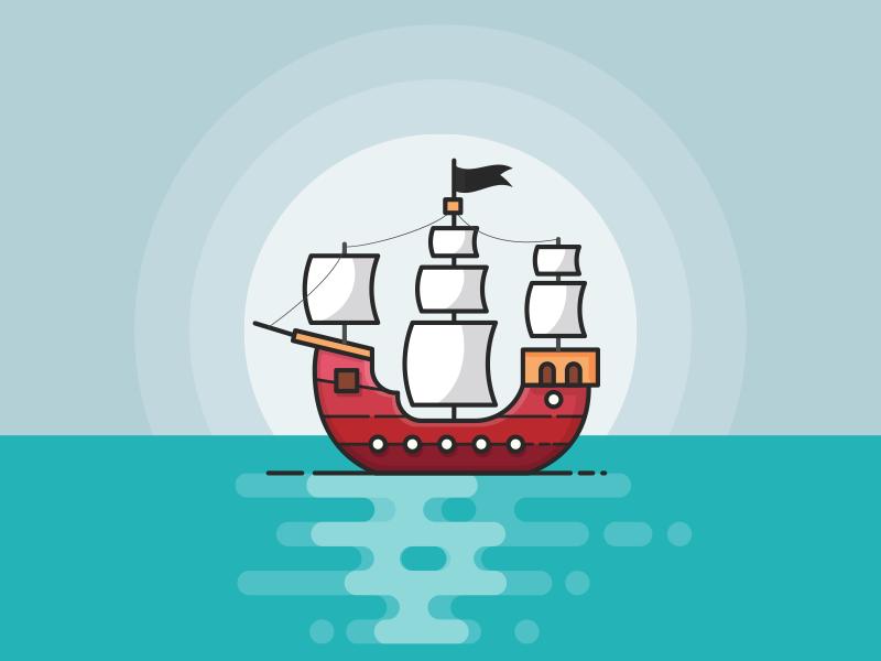 Pirate Ship Boat Illustration Kids Sketchbook Pirate Boats