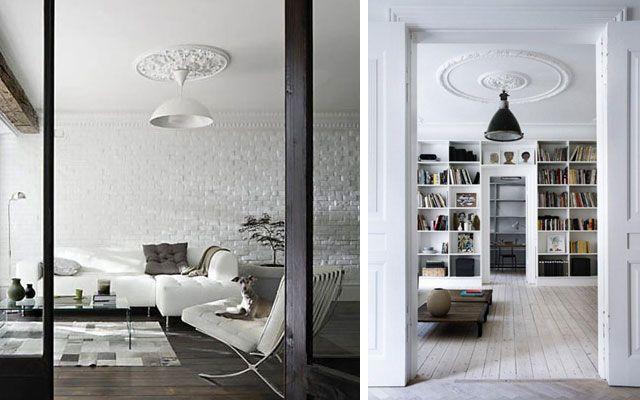 Ideas para decorar techos con molduras y rosetones for Casa clasica techo inclinado procrear