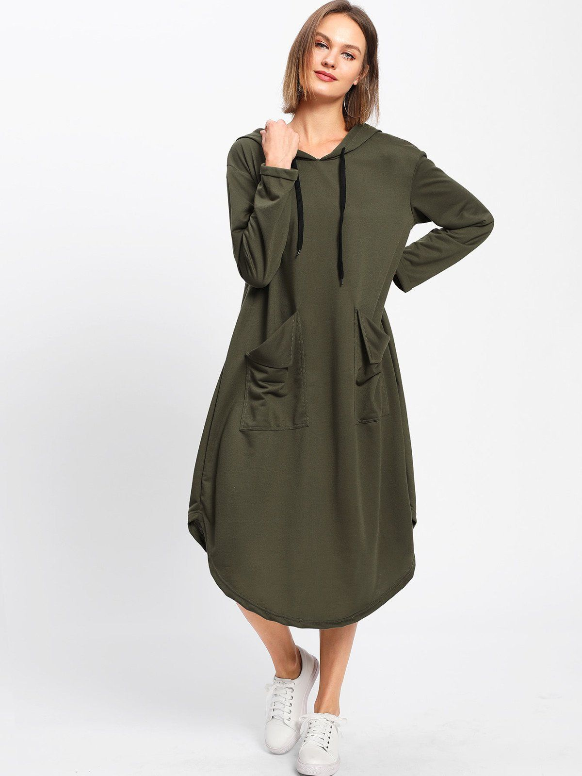Dual pocket hooded dress hooded dress spring and products