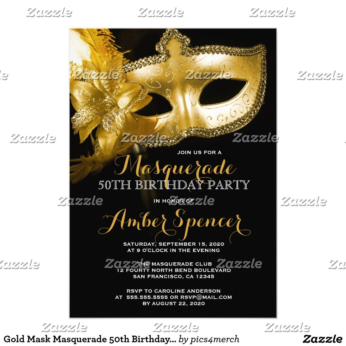 Gold mask masquerade 50th birthday party card 50 birthday parties gold mask masquerade 50th birthday party filmwisefo