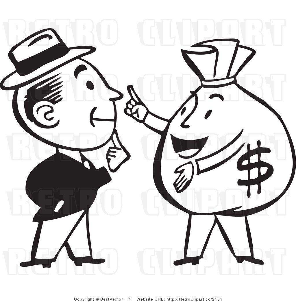 Retro Man Talking To A Big Money Bag Character Clip Art Cartoon Styles Black And White Man