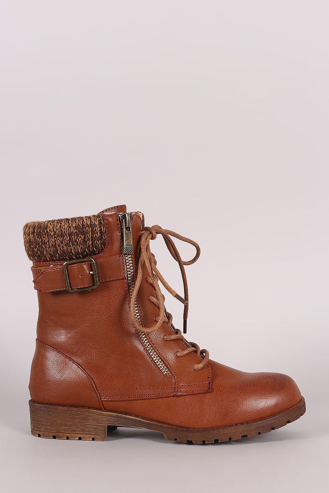 Bamboo Sweater Cuff Combat Lug Boots Leather Men Vegan Leather