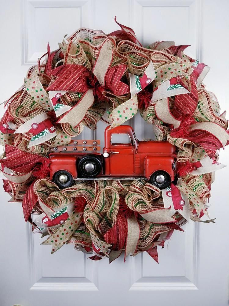 Red truck wreath for front door, Rustic holiday decor, Christmas