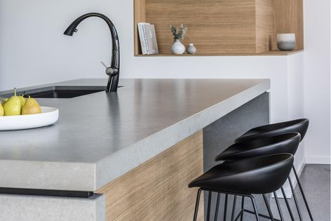 An Essastone Benchtop In Concrete Pezzato Weathered Finish Beautifully Combined With Laminex