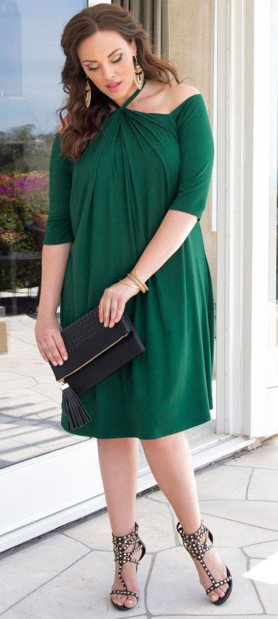12 Plus Size Holiday Green Dresses  with Sleeves  - Plus Size Party Dresses  - Plus Size Fashion for Women - alexawebb.com 5b33c7b61a72