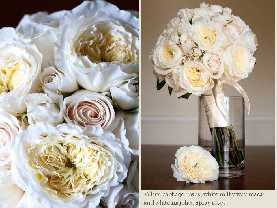 Wedding Bouquet Classic-white-ivory-bridal-bouquet-cabbage-roses ...