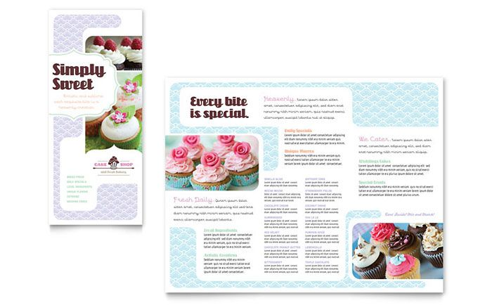 Bakery and Cupcake Shop Tri Fold Brochure Design Template by - microsoft word tri fold brochure