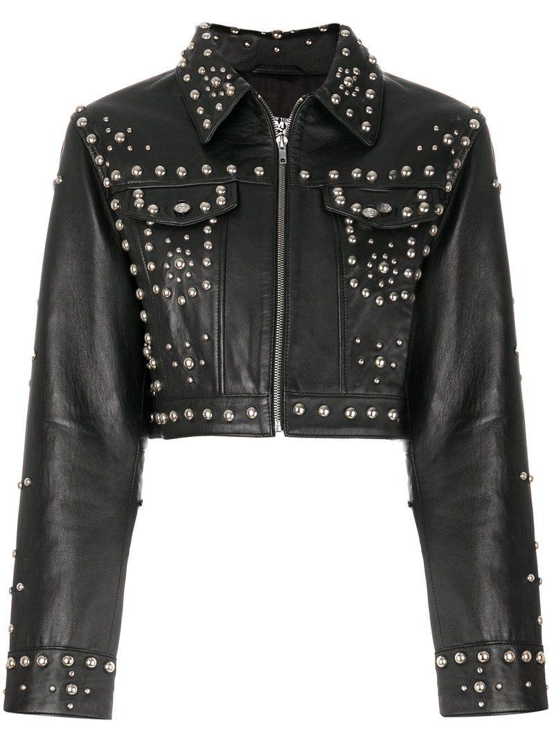 Jeremy Scott Studded Jacket Modesens Designer Leather Jackets Leather Jackets Women Studded Jacket [ 1067 x 800 Pixel ]