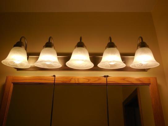 Glomar 5-Light Brushed Nickel Vanity Light with Alabaster Glass Bell ...