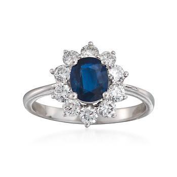 C. 2000. This gorgeous .90 carat sapphire and .80 ct. t.w. round brilliant cut diamond ring from our Estate collection is one that we really love. Sparkling and sensational, it's a classic that will have heads turning for a second look. 18kt white gold ring. <b>Exclusive, one-of-a-kind Estate Jewelry.</b> Free shipping & easy 30-day returns. Fabulous jewelry. Great prices. Since 1952.