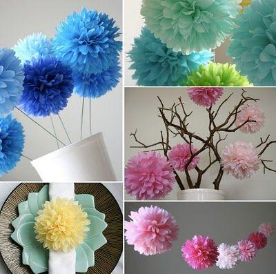 Tissue paper flower pompoms party decorations pinterest tissue mrsmommyholic diy decorating with paper pom poms mightylinksfo