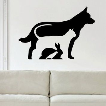Dog Cat Rabbit Bird Silhouette Design Animal Decal Sticker Wall - Vinyl decal cat pinterest