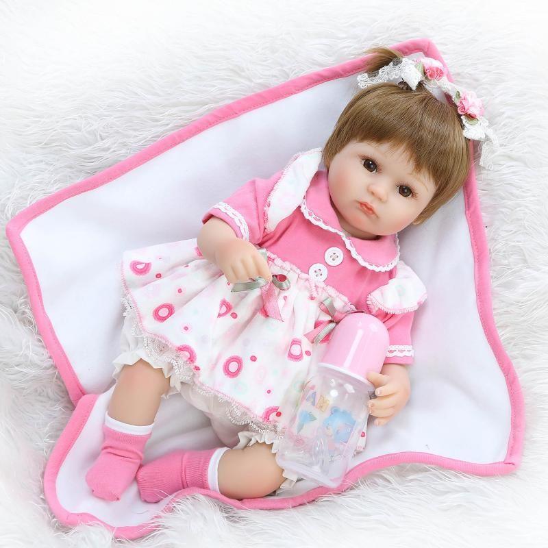NPK Soft Silicone Reborn Dolls 16/'/' Baby Playmate Toy Bouquets Doll Bebe Reborn