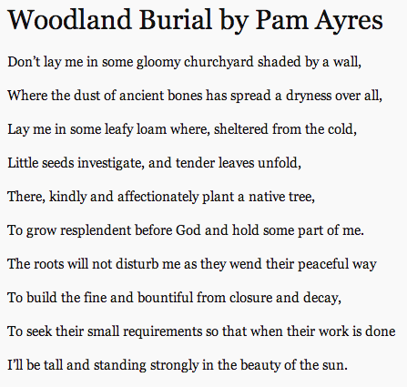 Woodland Burial By Pam Ayres Funny Poems Funeral Poems Poem About Death