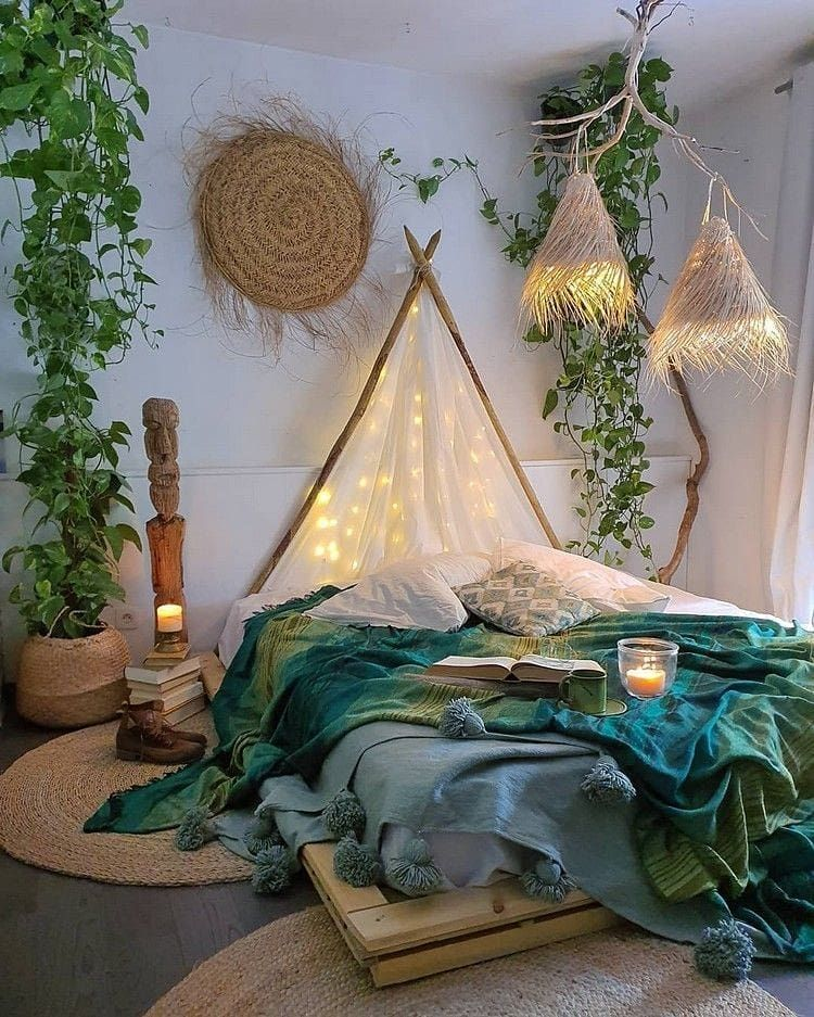 Amazing way to include natural elements into your bedroom. ... A room should never allow the eye to settle in one place. It should smile at you and create fantasy #bedroom home decor #decorationsalon decoration salon decoration interieur maison #bohobedroom