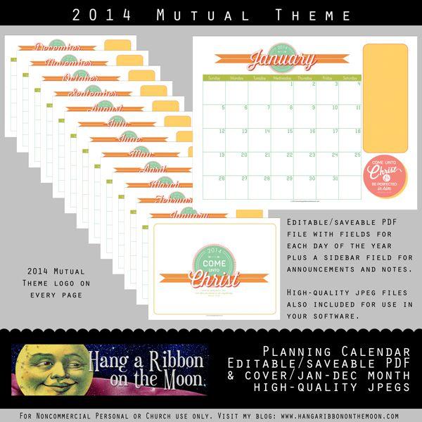 lds young women monthly calendar 2014 2014 mutual theme calendar