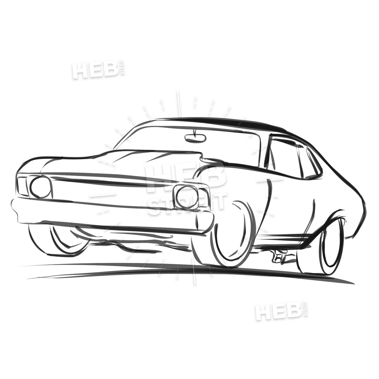 Old Muscle Car Outline Sketch In