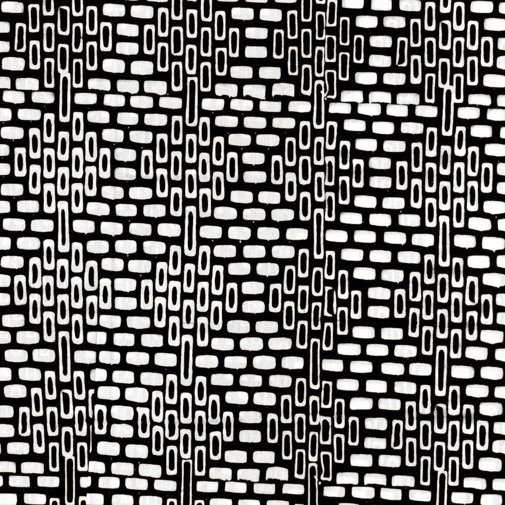 LUNN FABRICS EXCLUSIVE BLACK /& WHITE BATIK COTTON FABRIC YARD BLOCK WEAVE