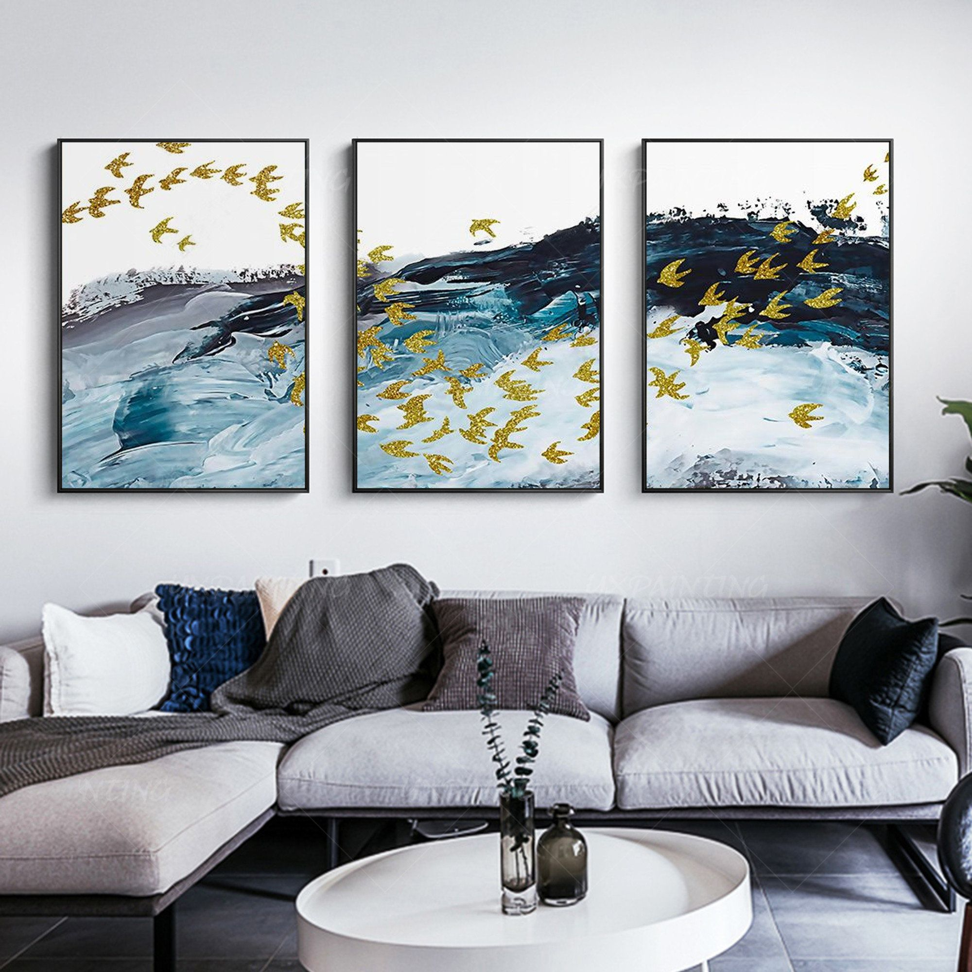 Abstract Painting Set Of 3 Wall Art Framed Wall Art Painting On Canvas River And Gold Birds Teal Blue Acrylic 3 Pieces Gold Lines Abstract In 2021 Frames On Wall Abstract Painting Canvas Painting