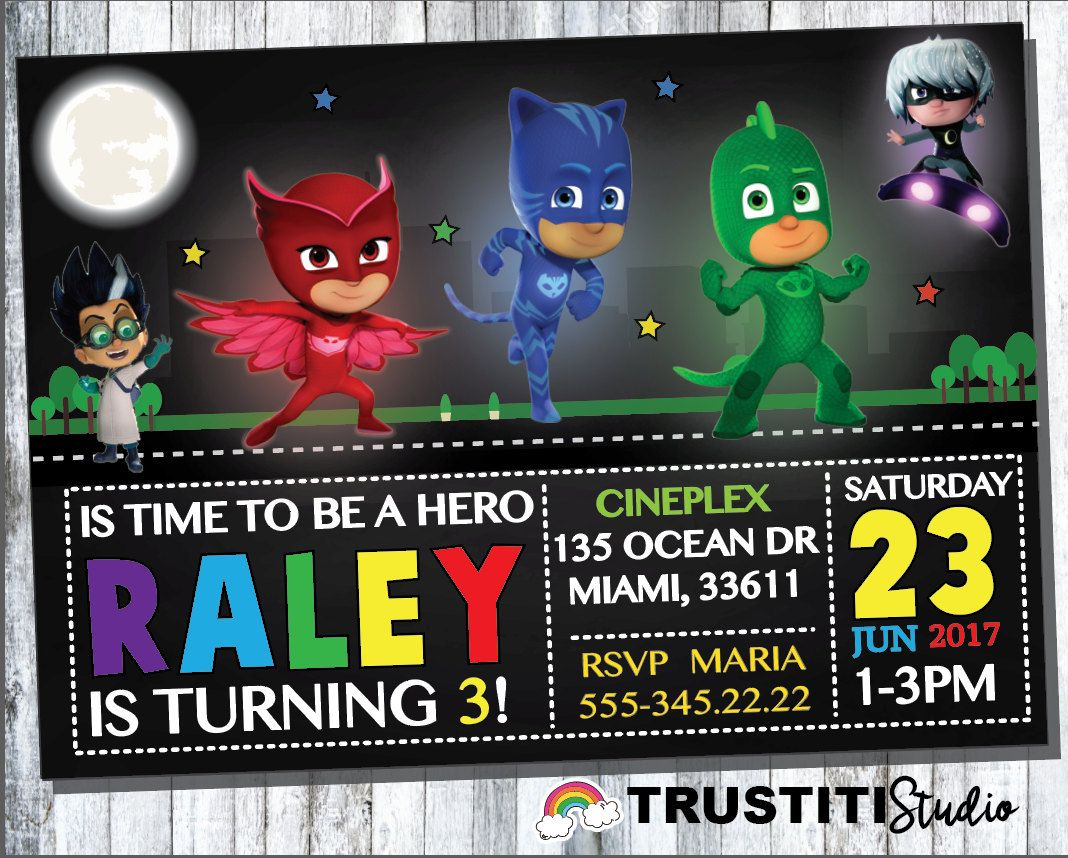 PJ MASKS INVITATION,pj Masks Birthday Party, Catboy, Owlette, Gekko ...