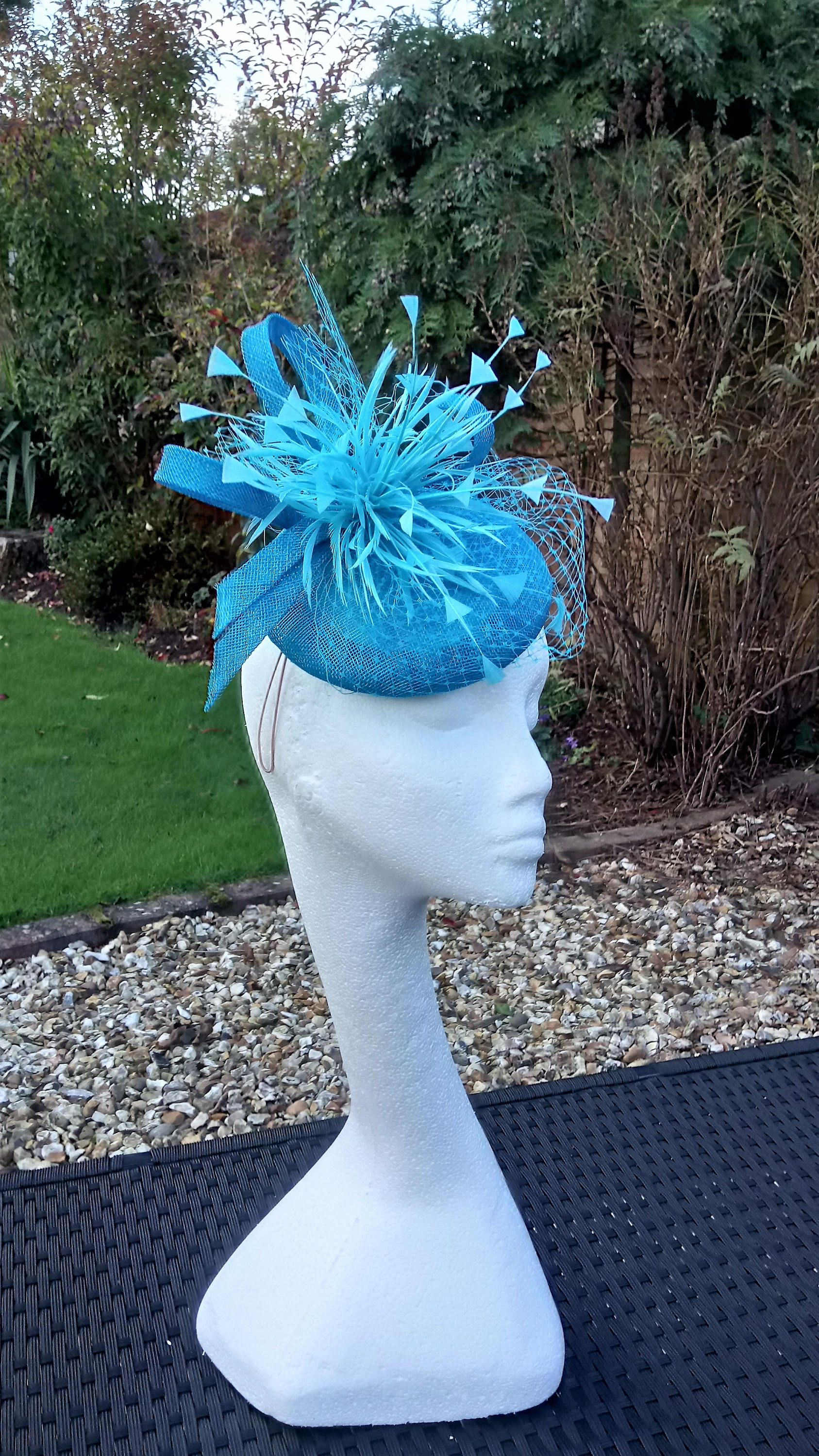 turquoise feather comb fascinator millinery wedding hat