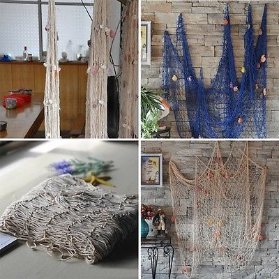 Uk nautical seaside beach sea #ocean fish net #shell home wall #hanging party dec,  View more on the LINK: http://www.zeppy.io/product/gb/2/252425664558/