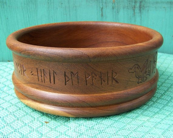 RESERVED: Viking Modern Birds Carved Offering Bowl - Refinished LargeTeak Wood - Ritual or Decor - Bind Rune