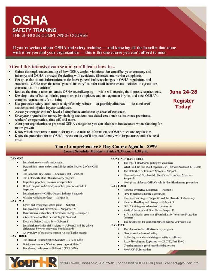 osha safety training workplace compliance course hour health arkansas materials jonesboro tips presentation material industrial management