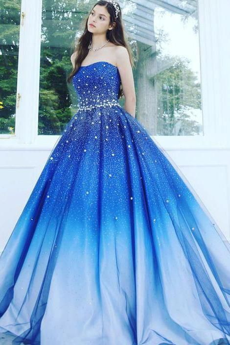 A Line Blue Strapless Sweetheart Ombre Sweep Train Ball Gown Beads Tulle Prom Dresses uk PH891