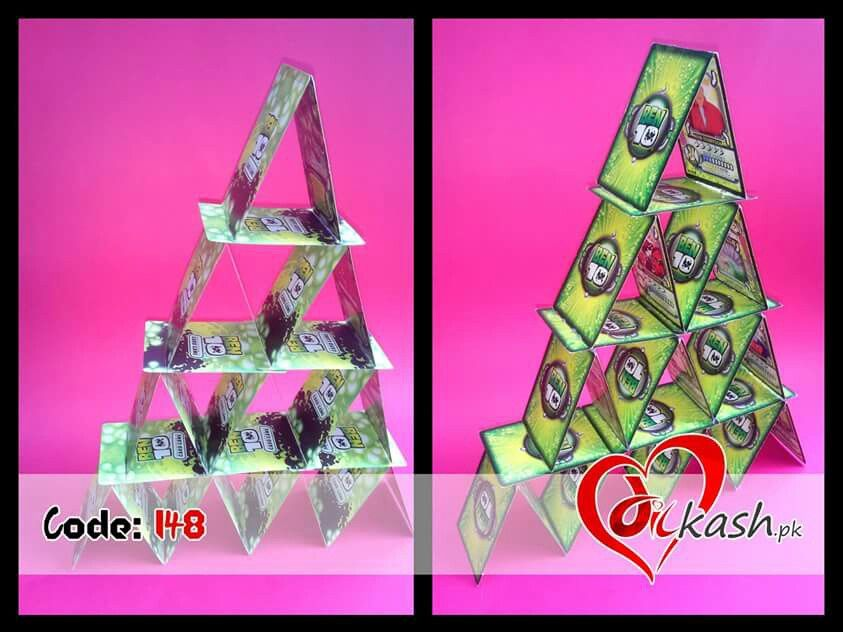 Rs: 150. Cards tower, Decoration piece. 03126999002 www.dilkash.pk@gmail.com