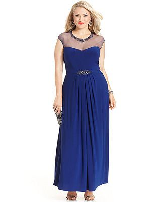 Patra Plus Size Dress Cap Sleeve Illusion Beaded Gown Wedding
