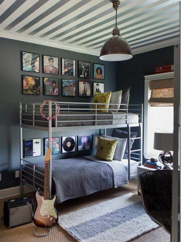 Spectacular jungenzimmer gestalten stockbett teppich gitarre dekokissen wanddeko Jugendzimmer