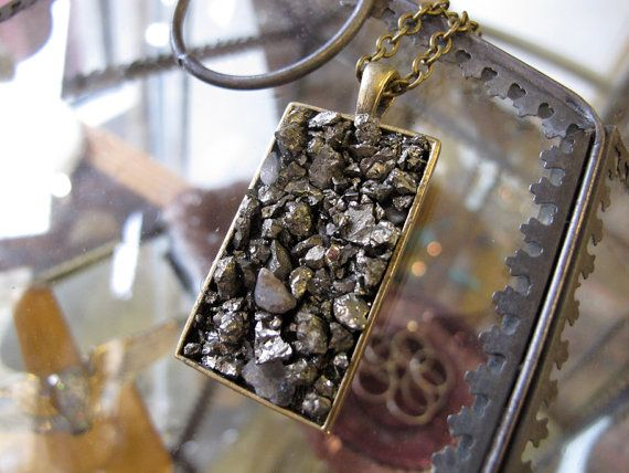 Pyrite a Fools Gold   Rectangle  Necklace by BrooklynCharm on Etsy, $24.00