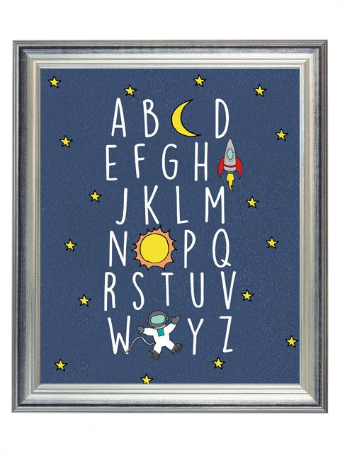 Digital blue outer space alphabet abc nursery print for Outer space childrens decor