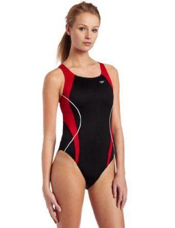 Speedo Women's Speedo Women'S Race Xtra Life Lycra Optik Spliced Powerback  Swimsuit,Black/Red