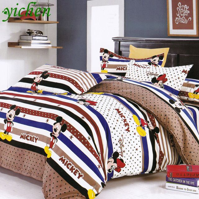 2016 High Quality 100% Natural Cotton Comforter Stripe Mickey Mouse Cashmere Plant Quilt King Queen Twins Size Bedding MB007