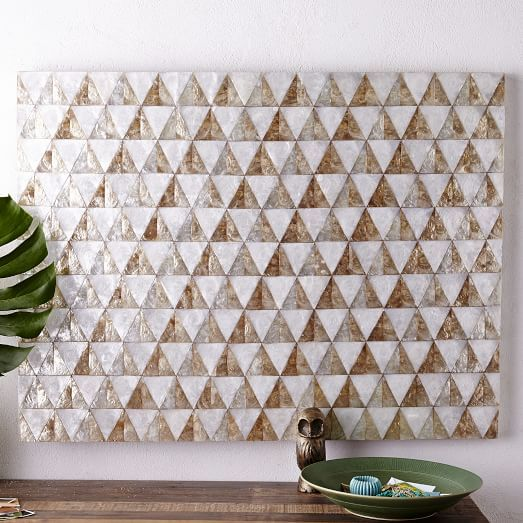 Our Capiz Wall Art S Chevron Motif Is Created With Hand Inlaid Shells From The Philippines Hang It On For An Instant Splash Of Subtle Shine