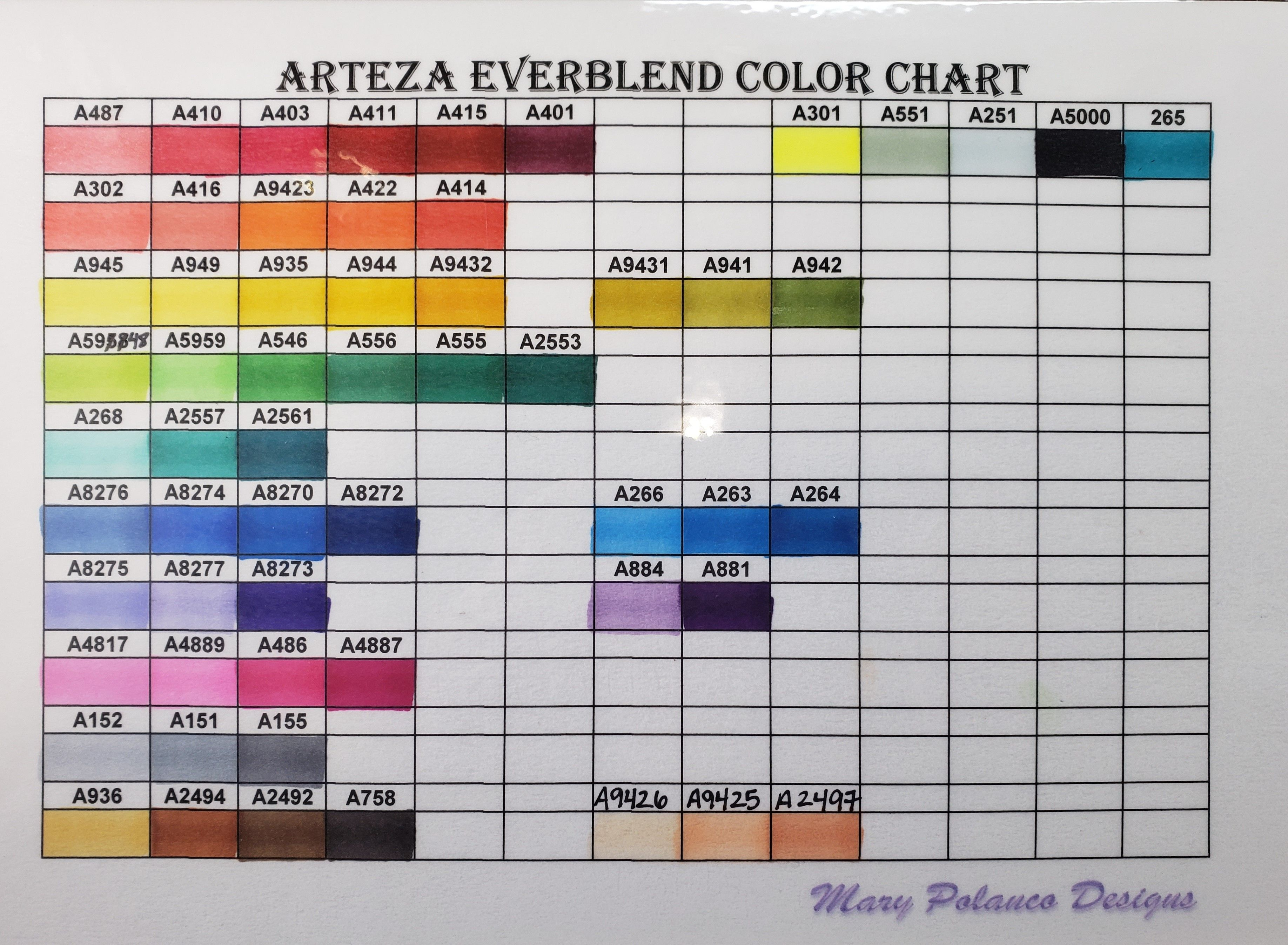 Arteza Everblend Alcohol Marker Color Chart Alcohol Markers Arteza Color Chart