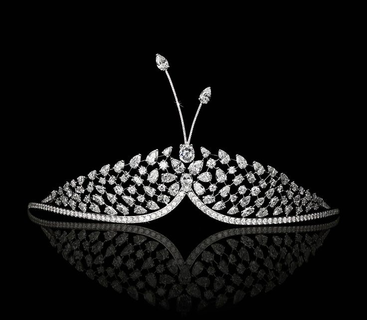 David Morris's Butterfly diamond tiara with approx. 35 carats of round and pear shape diamonds set in gold.