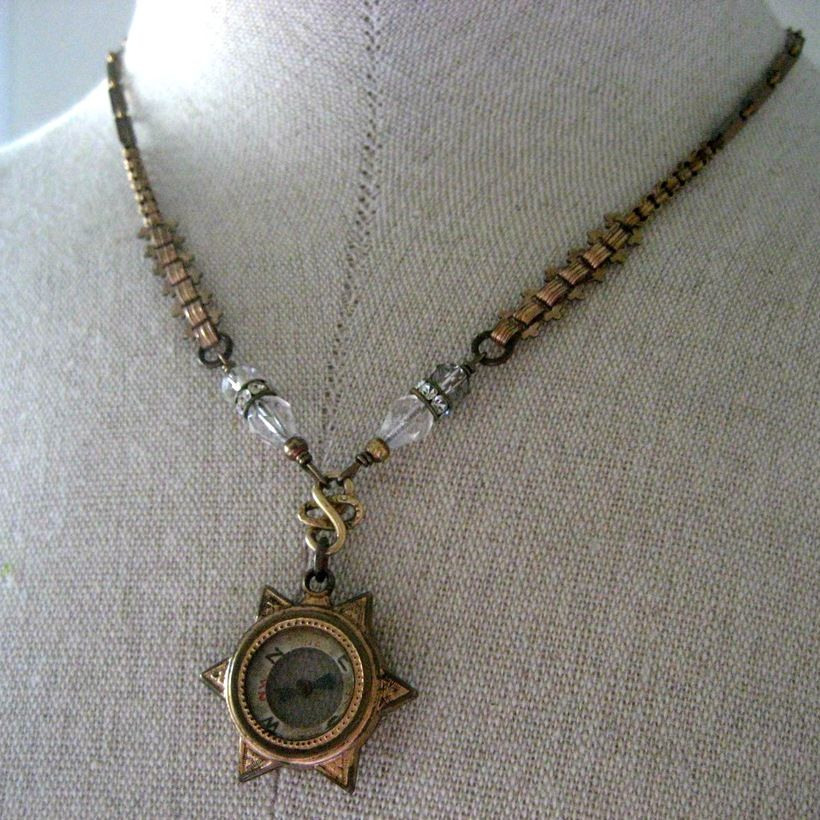 Lost in the Stars  - Victorian compass fob necklace