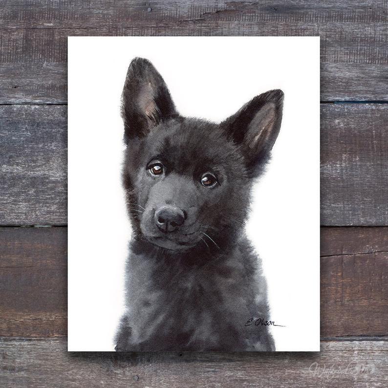 Watercolor Puppy Black German Shepherd Puppy Prints Puppy Etsy In 2020 Baby Animal Nursery Theme Puppy Prints Baby Animal Nursery
